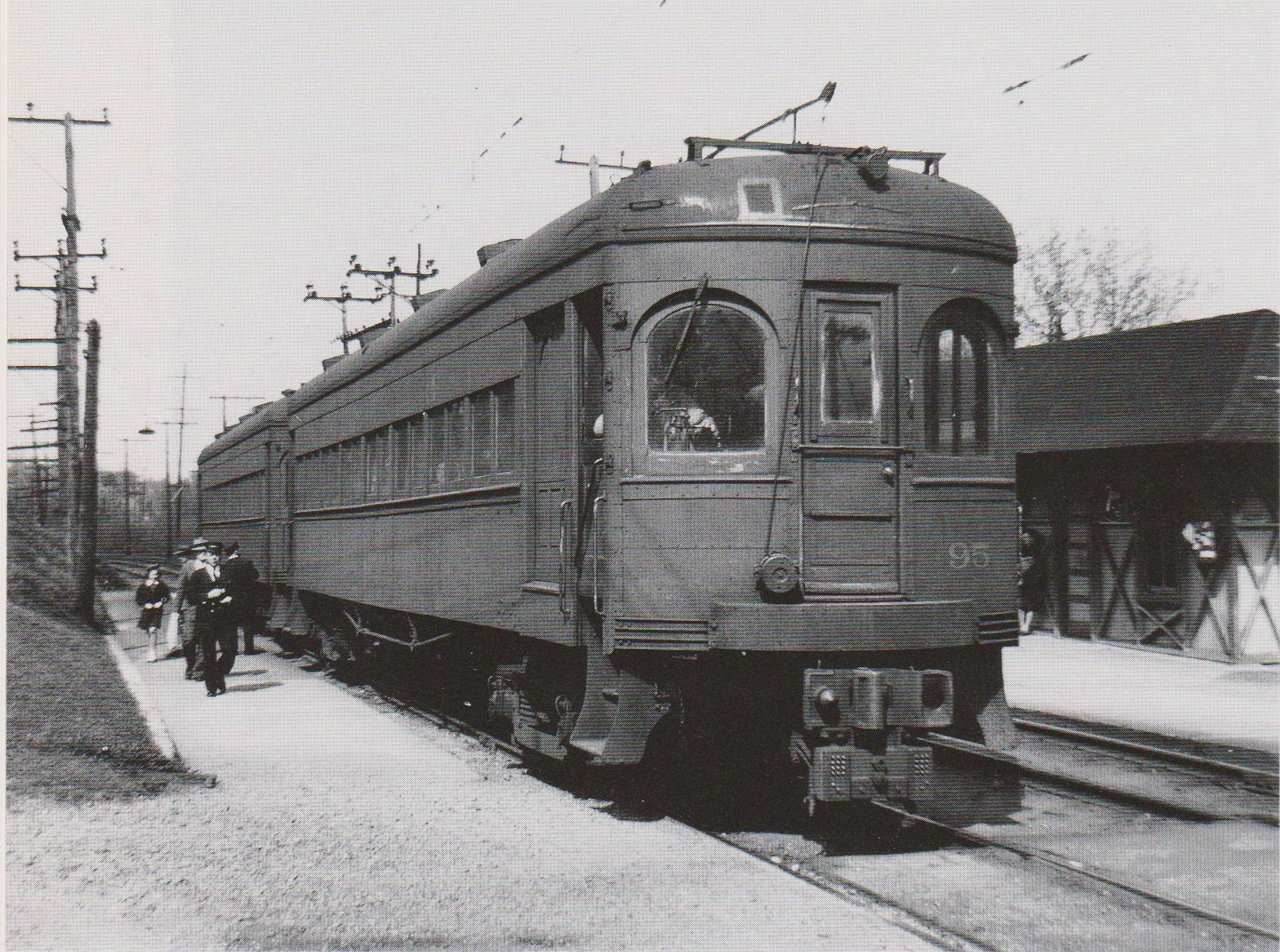 """Baltimore & Annapolis Car #95 at Linthicum Station. Linthicum, Maryland Date: 1946. Source: W.D. Middleton from """"Baltimore Light Rail, Then & Now"""" by Herbert H. Harwood Jr."""