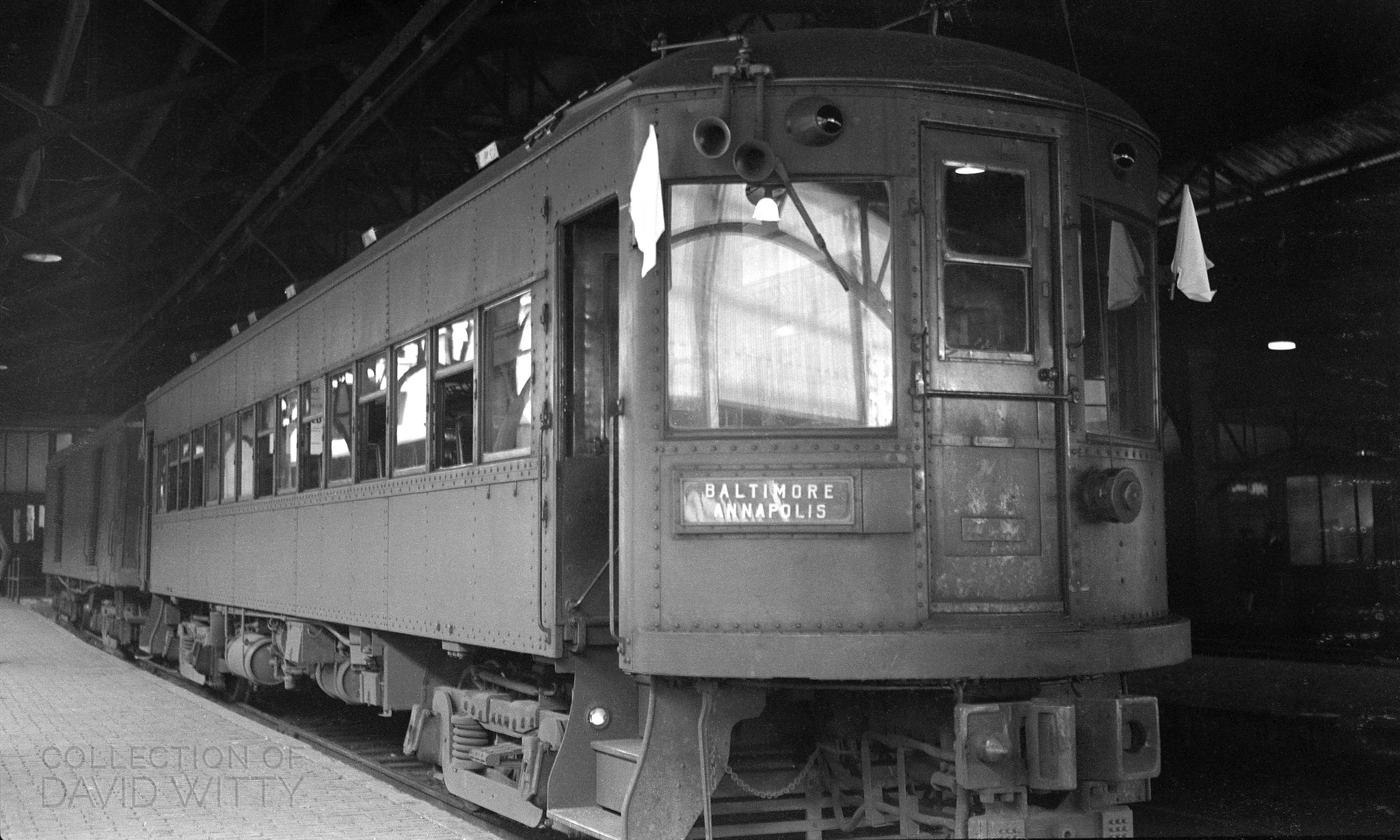 Baltimore & Annapolis Railroad Car #201 at Camden Station. Baltimore, Maryland. Date: May 25, 1942. Source: David Witty Collection.