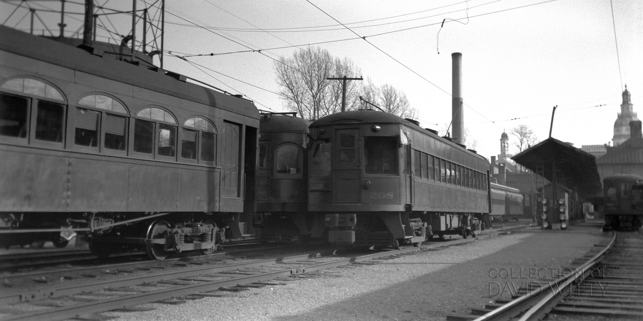 Baltimore & Annapolis Railroad Car #208 at Bladen Street Station. Annapolis, Maryland Date: December 1939. Source: David Witty Collection.
