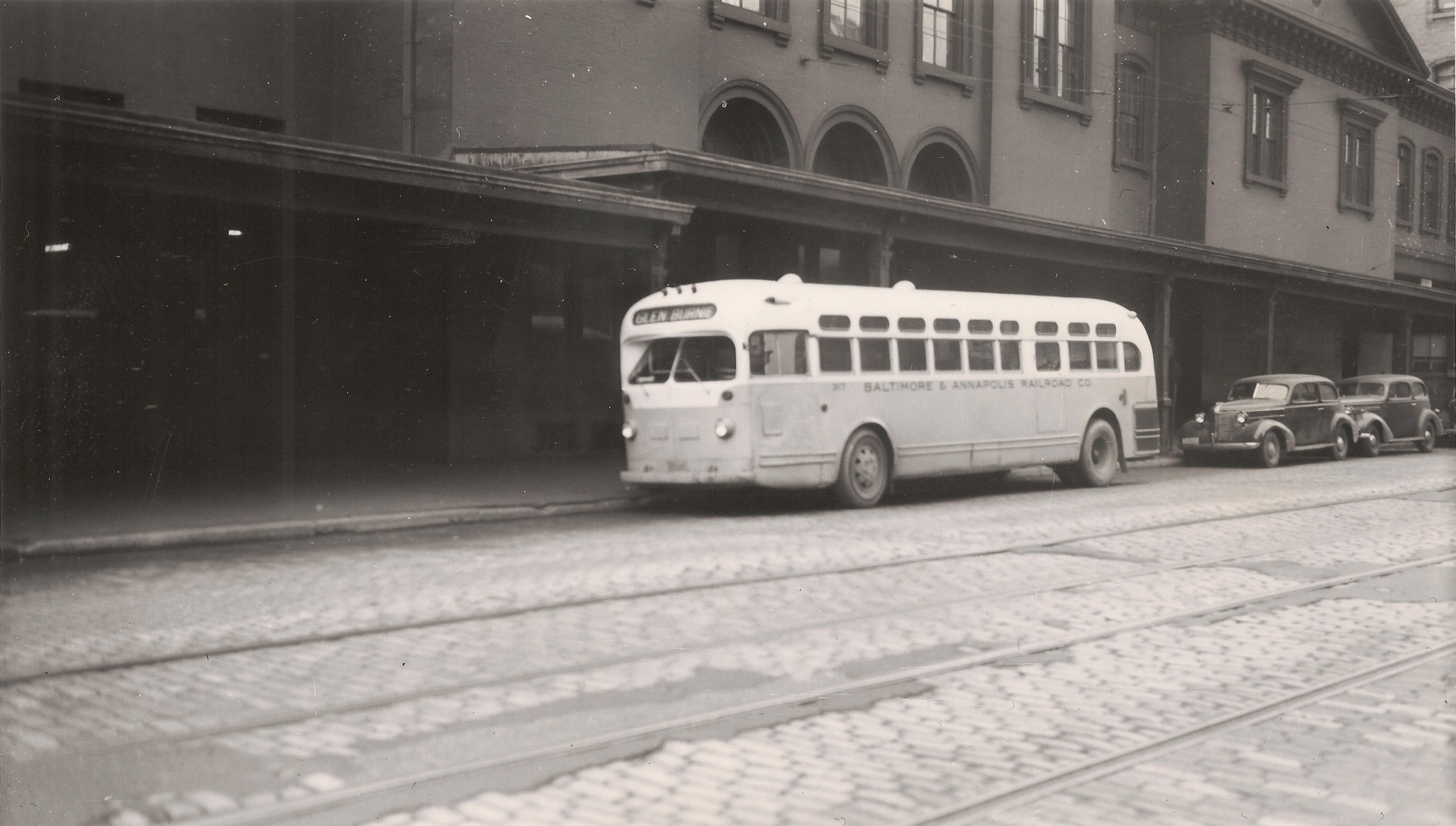 Baltimore & Annapolis Railroad bus outside of Camden Station in Baltimore, Maryland. Date: Unknown. Source: Kevin Mueller Collection.
