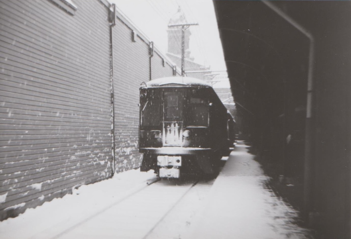 Baltimore & Annapolis Railroad Car #205 at Camden Station. First day of operations after strike. Baltimore, Maryland Date: December 19, 1948. Source: Hugh Hayes Collection.
