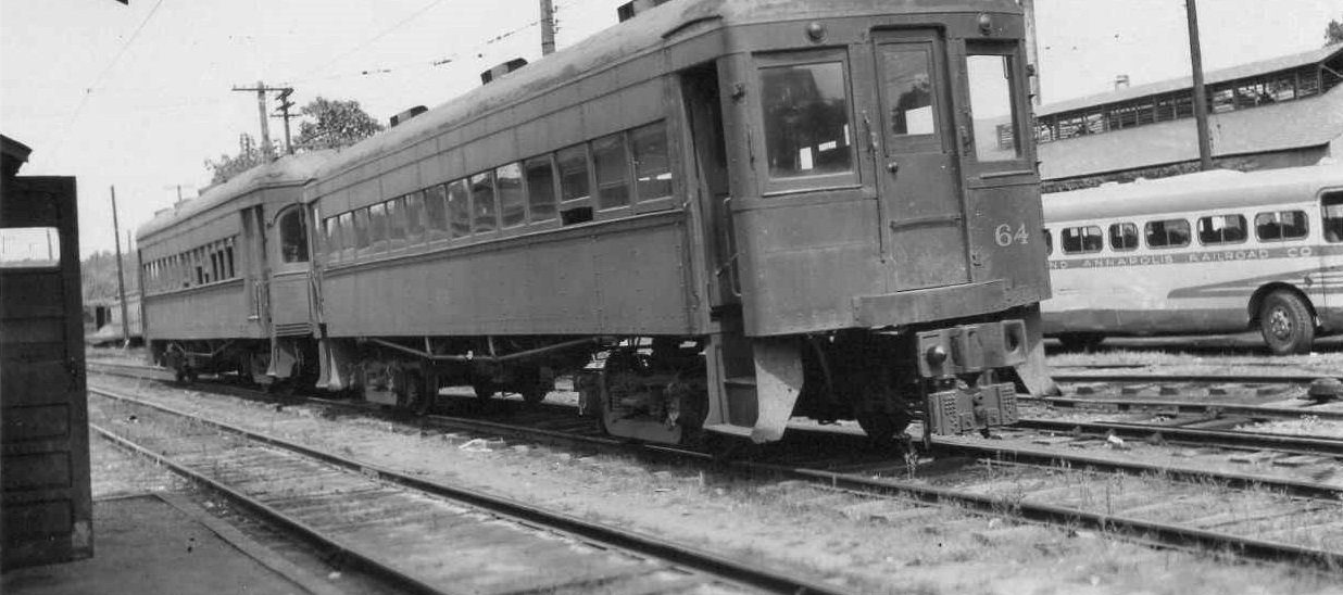 Baltimore & Annapolis Railroad Car #64 at Bladen Street Station. Annapolis, Maryland Date: 1948. Source: Frank L. Watson Collection.