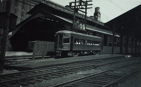 Baltimore & Annapolis Railroad Car #202 leaving Camden Station heading for Annapolis. Baltimore, Maryland Date: August 9, 1938. Source: Unknown.
