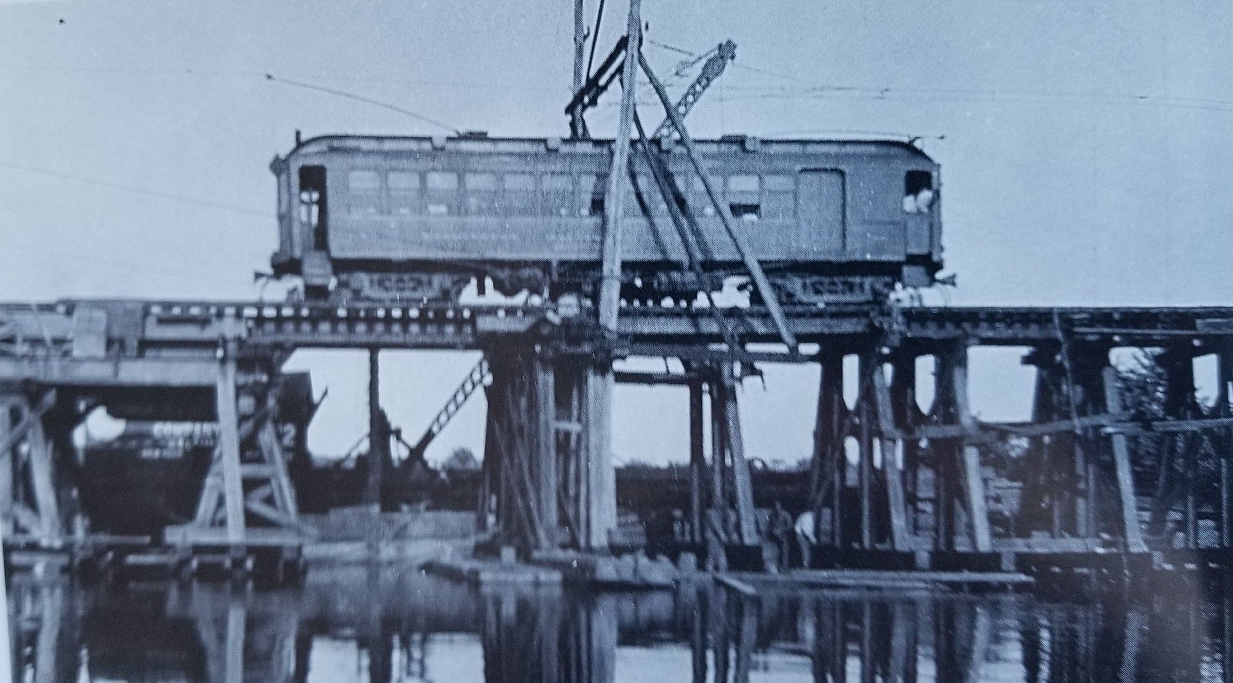 Baltimore & Annapolis Car #86 crossing College Creek as it enters Bladen Street Station in Annapolis. Annapolis, Maryland Date: Unknown. Source: John E. Merriken Collection.