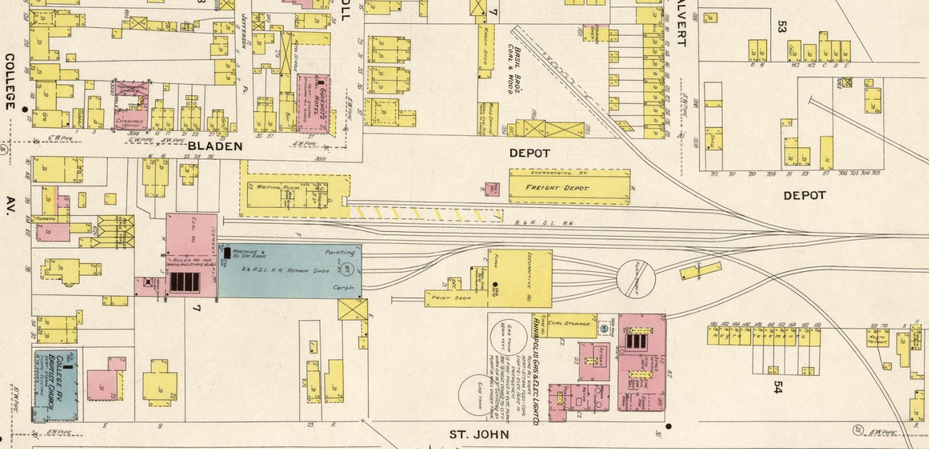 Baltimore & Annapolis Railroad, Bladen Street Station. Annapolis, Maryland Date: 1908. Source: Sanborn Fire Insurance Maps.