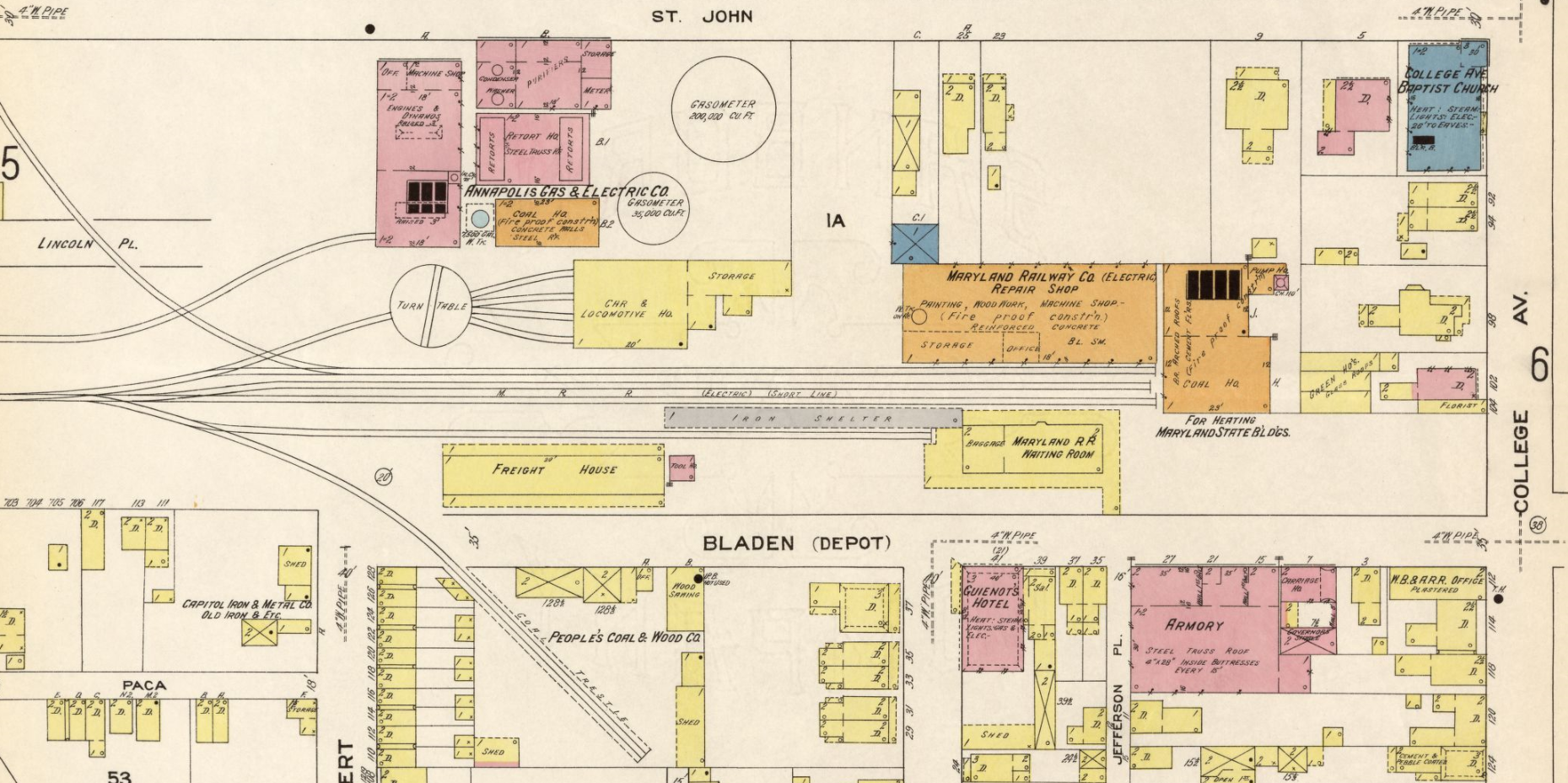Baltimore & Annapolis Railroad, Bladen Street Station. Annapolis, Maryland Date: 1913. Source: Sanborn Fire Insurance Maps.