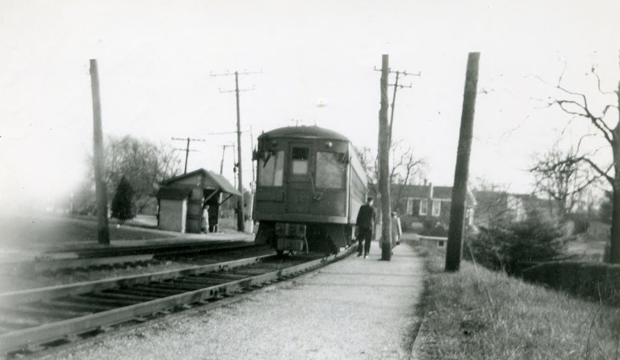 """Baltimore & Annapolis Railroad leaving Shipley Station. Date: February 5, 1950. Source: """"The Train Passes Through It"""" by Oscar """"Skip"""" Booth and Beth P. Nowell."""
