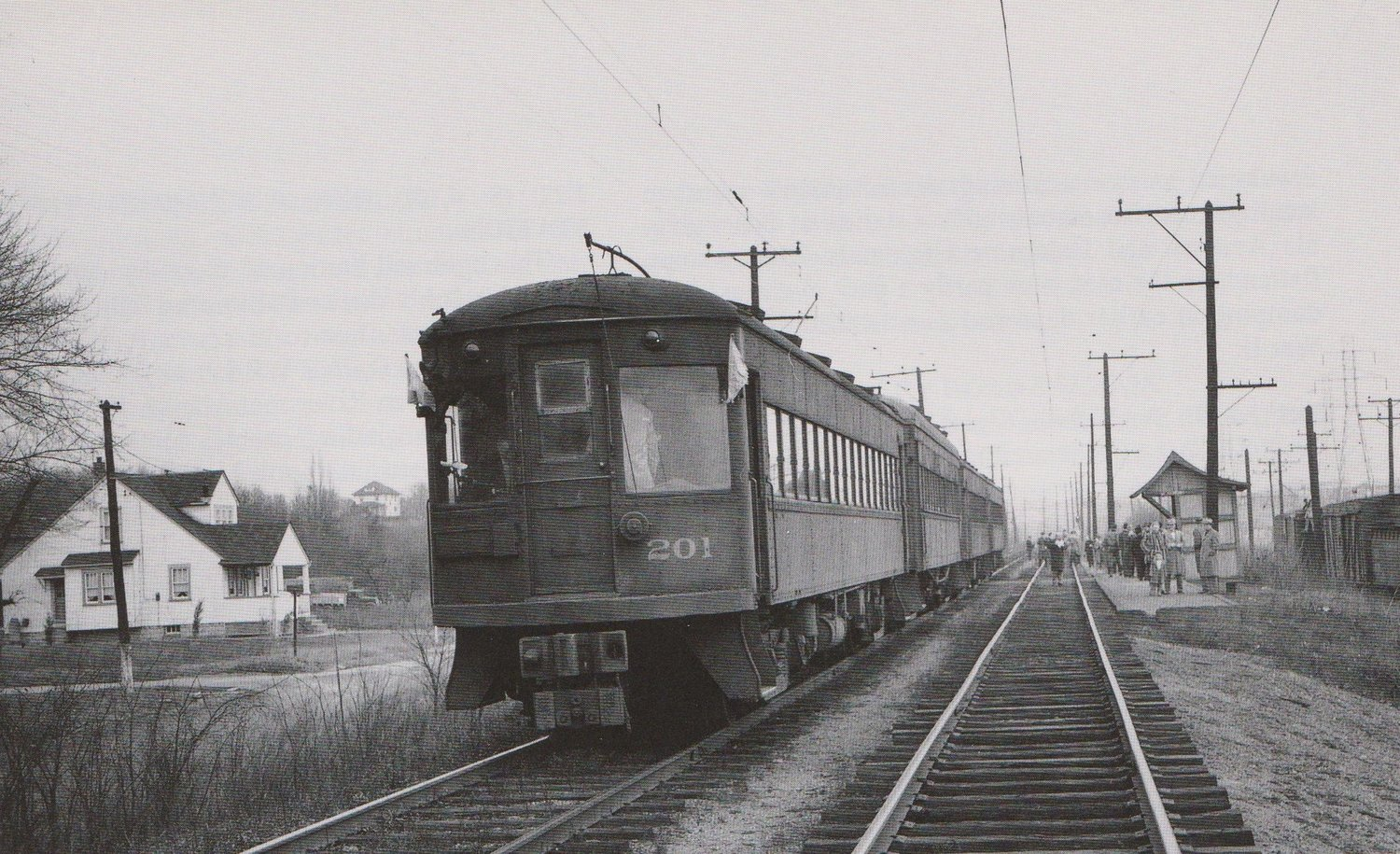 """Baltimore & Annapolis Car #201 at Rosemont Station. Rosemont Station, Maryland Date: January 1950. Source: """"Baltimore Light Rail, Then & Now"""" by Herbert H. Harwood Jr."""