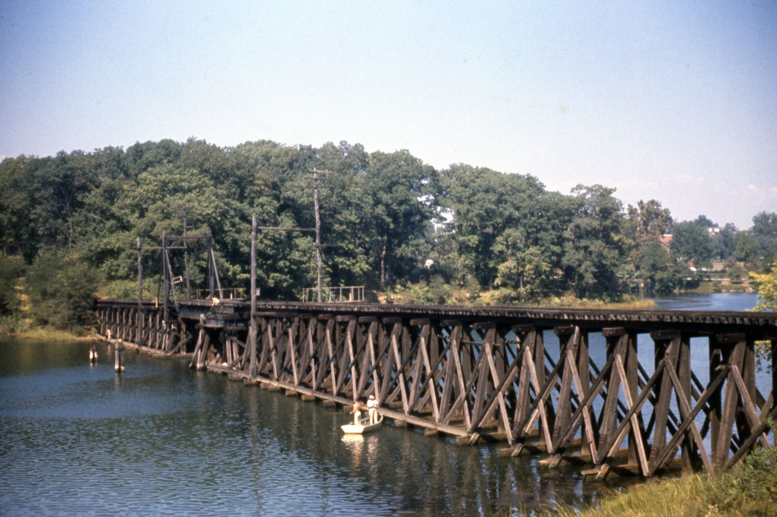 Baltimore & Annapolis Railroad bridge crossing College Creek going into Bladen Street Station. Annapolis, Maryland Date: September 24, 1961 Source: Robert Riley, Maryland Rail Heritage Library Collection.