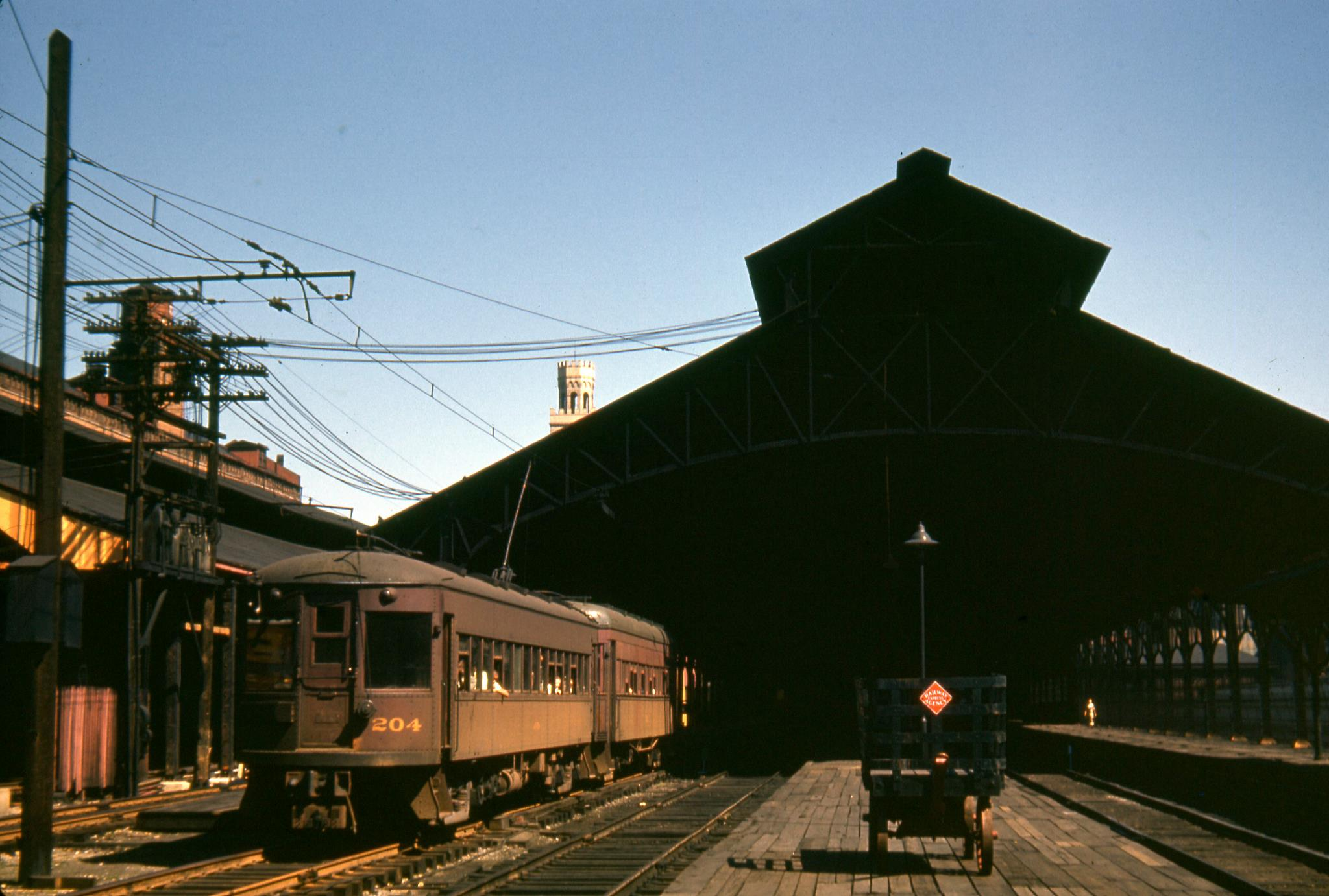 Baltimore & Annapolis Railroad Car #204 departing Camden Station. Baltimore, Maryland Date: 1940s. Source: Lee Rogers Collection.