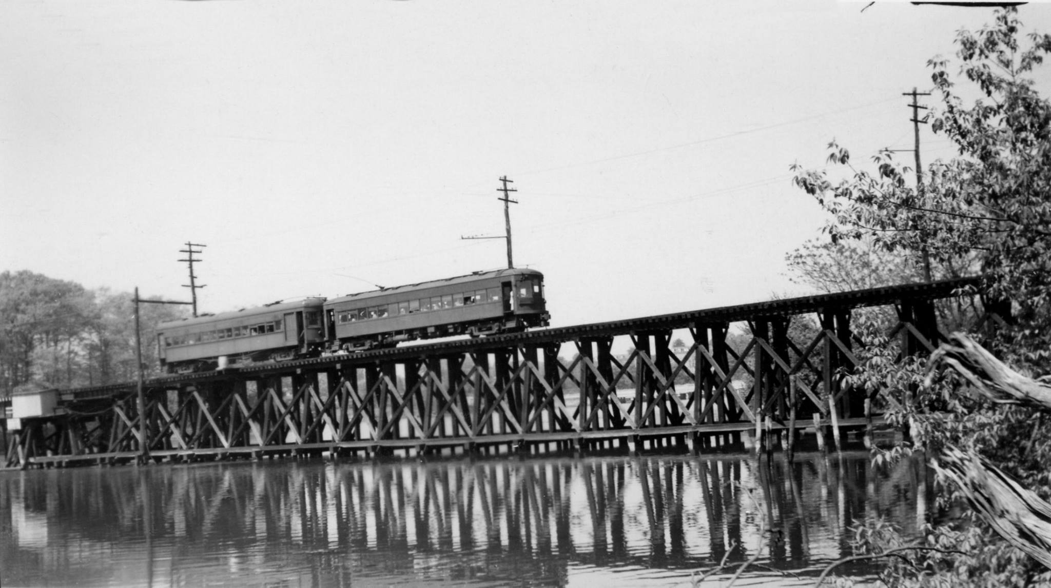 Baltimore & Annapolis Railroad crossing College Creek coming into Bladen Street Station. Annapolis, Maryland Date: 1940s. Source: Lee Rogers Collection.
