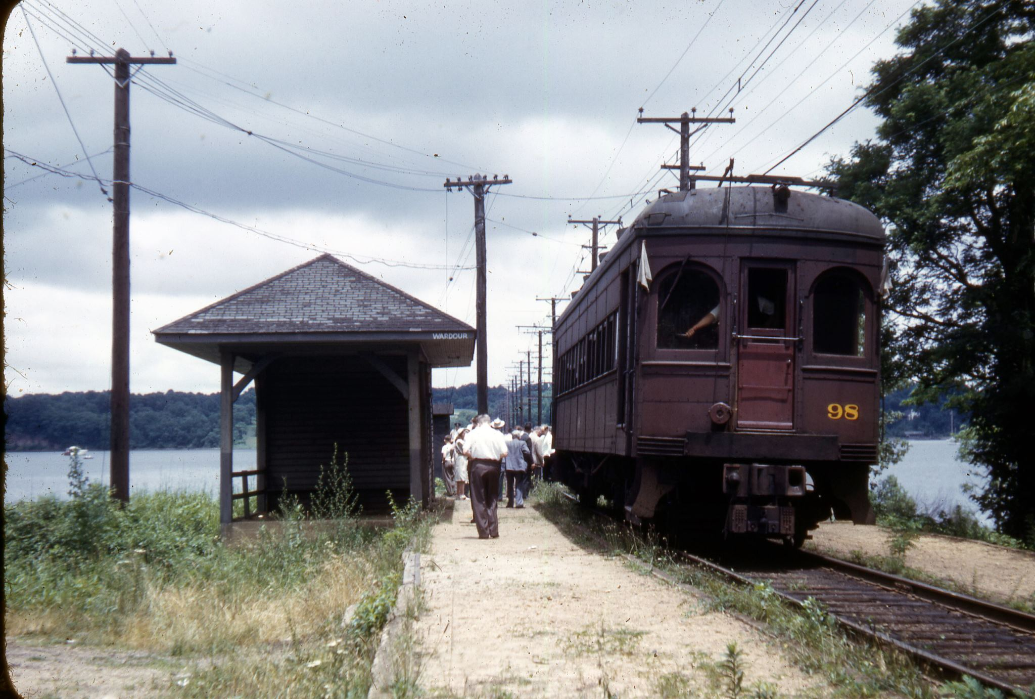 Baltimore & Annapolis Railroad Car #98 at Wardour Station. Date: 1940s. Source: Lee Rogers Collection.