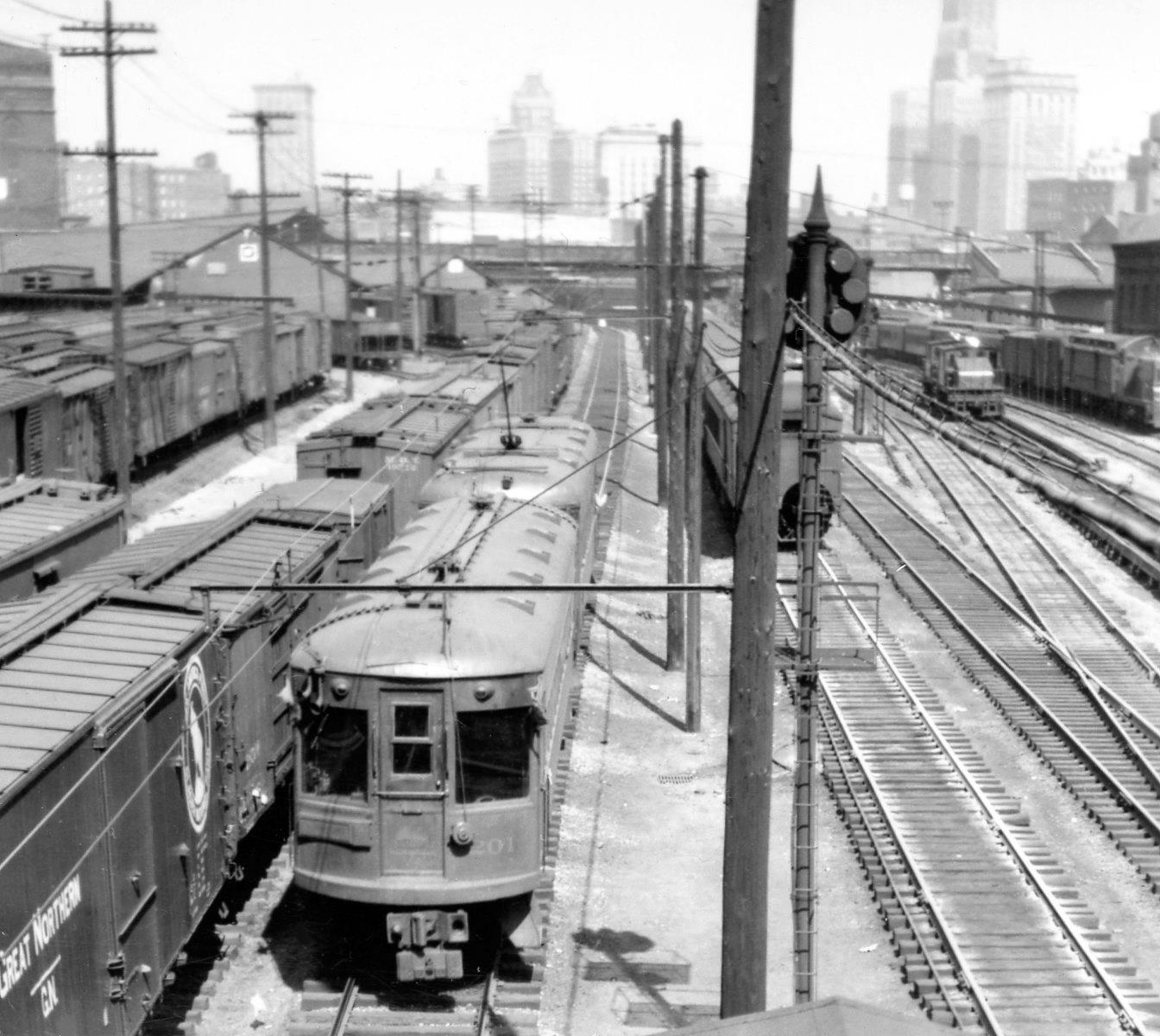 Baltimore & Annapolis Railroad Car #201 Northbound into Camden Station. Baltimore, Maryland Date: October 6, 1946. Source: Lee Rogers Collection.