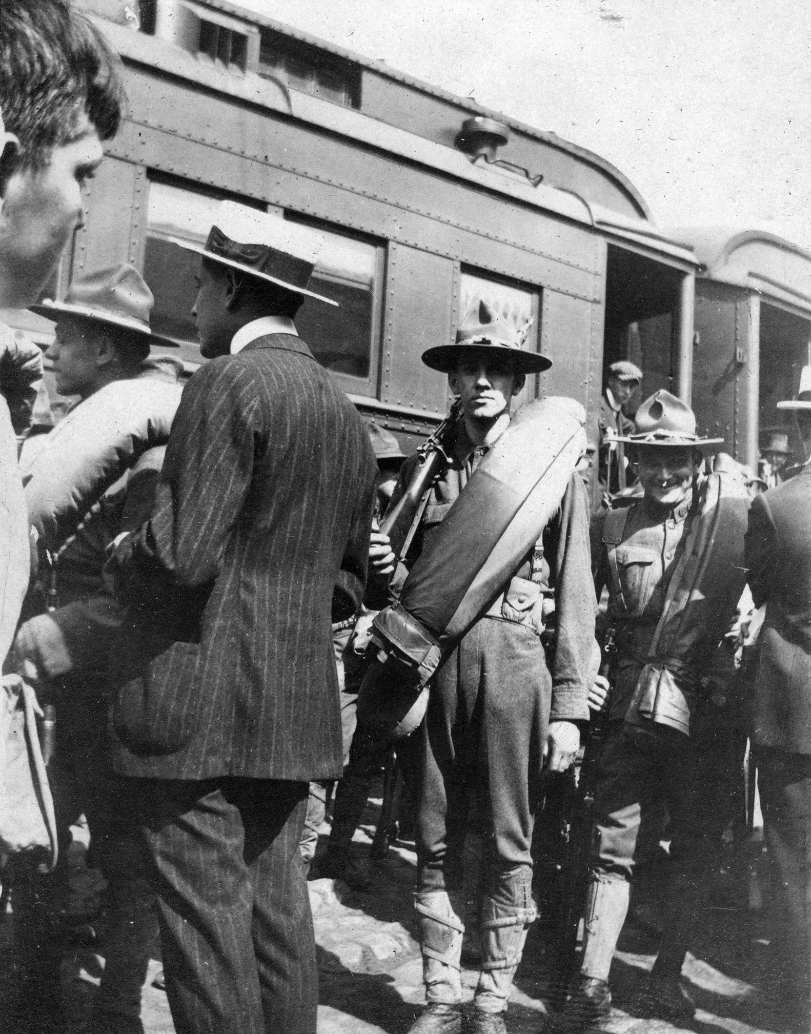 Soldier, Elmer League, heading off to Service in World War I. Either at Bladen Street Station or West Street Station. Annapolis, Maryland Date: 1917. Source: Unknown.