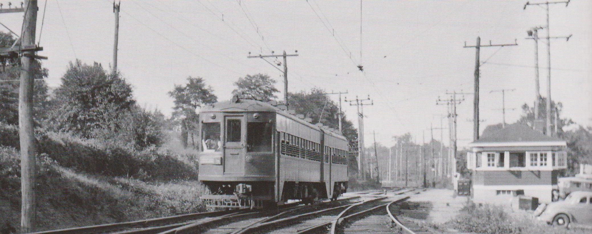 Baltimore & Annapolis Railroad car passing Linthicum Station. Linthicum, Maryland Date: Unknown. Source:  Baltimore Light Rail, Then & Now .