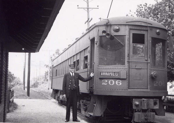 Baltimore & Annapolis Railroad Car #206, most likely at Severna Park Station. Severna Park, Maryland Date: Unknown. Source: Unknown.