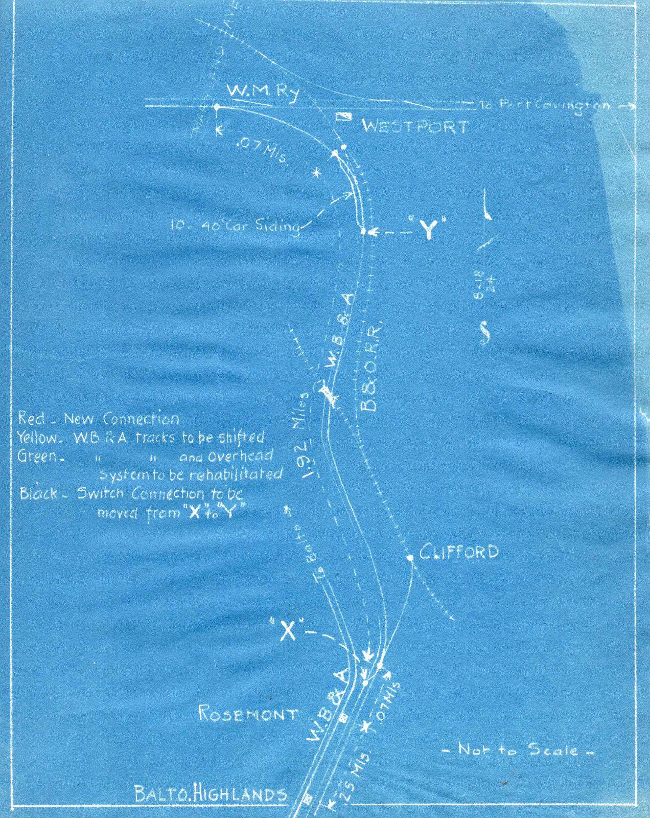 Washington, Baltimore & Annapolis Railroad Blueprints showing Westport Station. Date: Unknown. Source: Unknown.