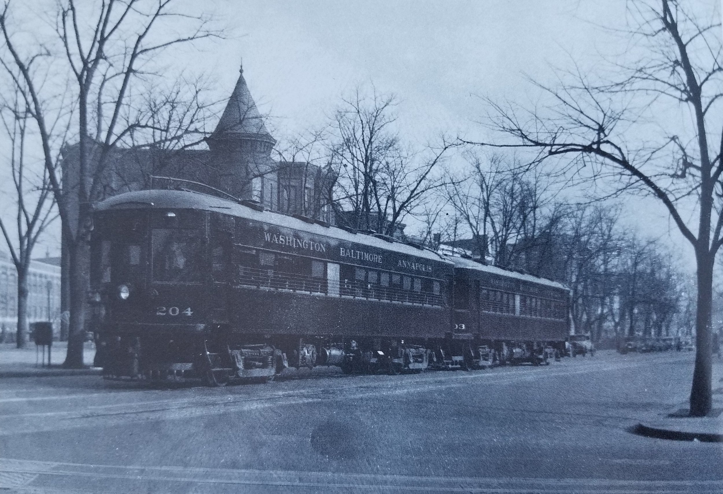 Washington, Baltimore & Annapolis Railroad Cars #204 & #203 inbound to Washington Station on 5th and Massachusetts Avenue N.W. Date: Unknown. Source: John B. Yeabower.