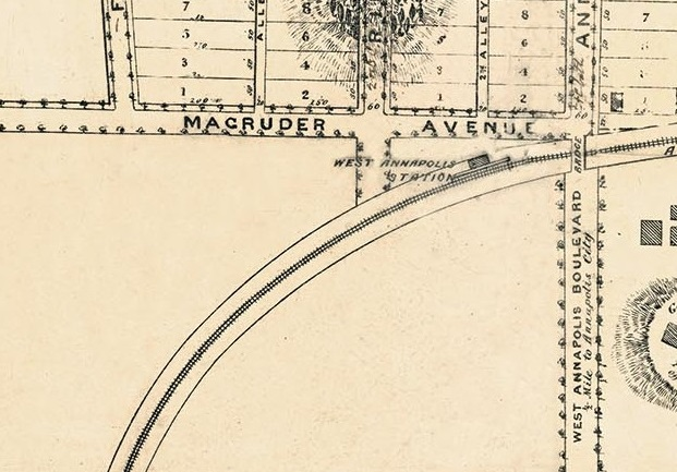 George T. Melvin's Plat of West Annapolis, 1890.This carefully drawn plat of the subdivision of Luther Giddings' farm shows the plan for laying out the streets and lots for a new community. Not found on other plats are the indication of trees in the ravines cutting into the shore and other trees, possibly an orchard, in other areas. Note that street trees are also indicated – perhaps in anticipation of their planting. Date: 1890. Source: Unknown.