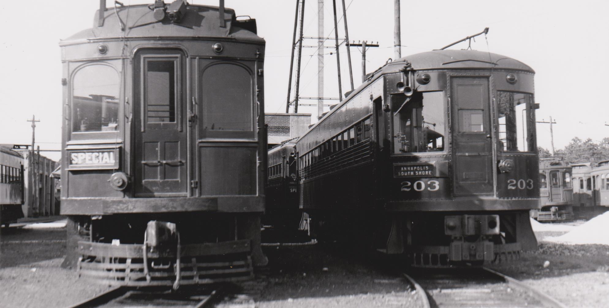 Washington, Baltimore & Annapolis Railroad Cars at Naval Academy Junction. Date: Unknown. Source: Hugh Hayes Collection.