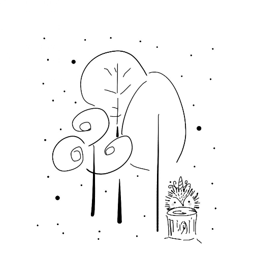 hand-drawn illustration hedgehog unicorn black and white whimsical enchanted forest
