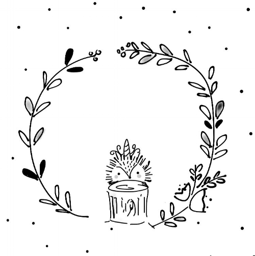 hand-drawn illustration hedgehog unicorn black and white whimsical floral wreath