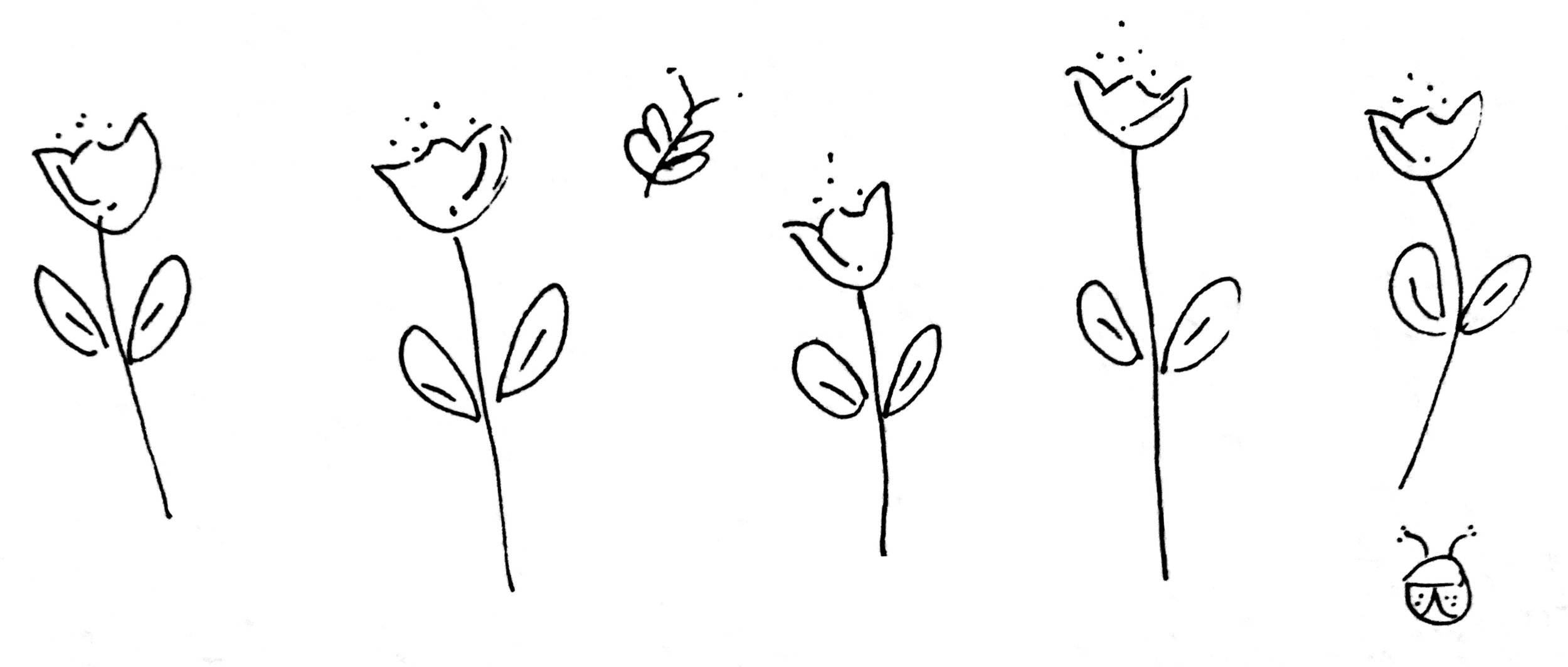 hand drawn flowers illustration black and white