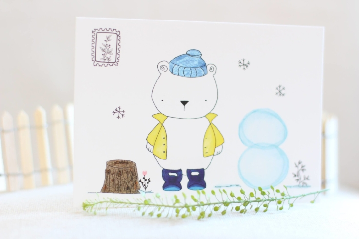 Winter bear postcard
