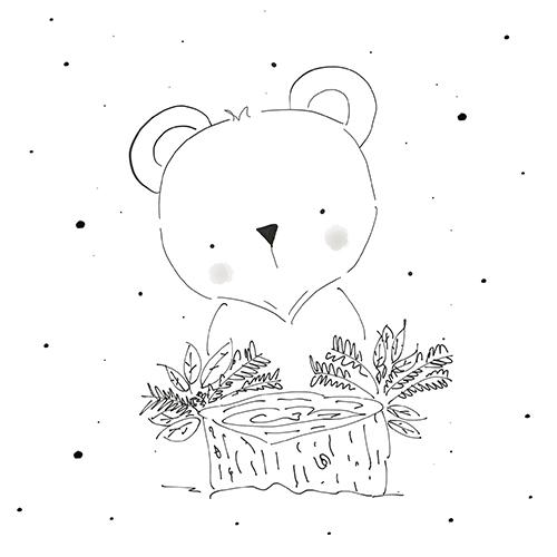 Black and white Koala Bear illustration