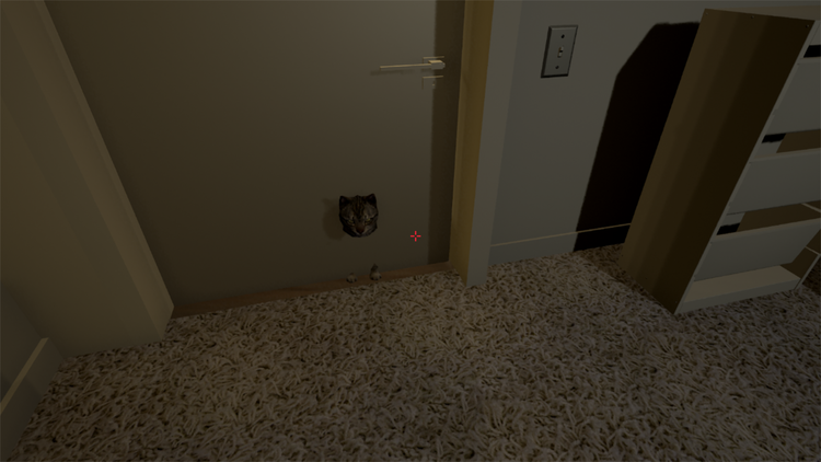 Apartment1:A 3D model of an apartment and one of NovaKitten's very first projects in Unreal. Elaina was entertained by the thought of a cat that would follow you when you weren't looking, even through walls. She didn't expect the viewers to react with so much shock.