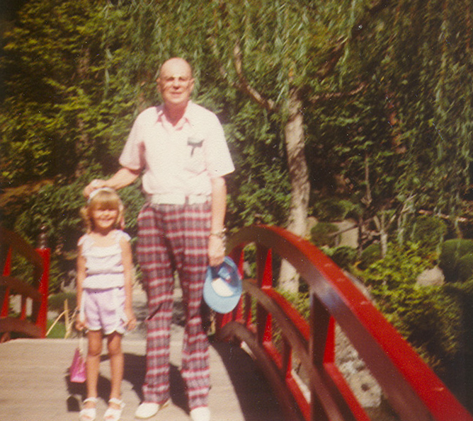 Crystalyn and Her Grandpa with his Plaid Wool Golf pants