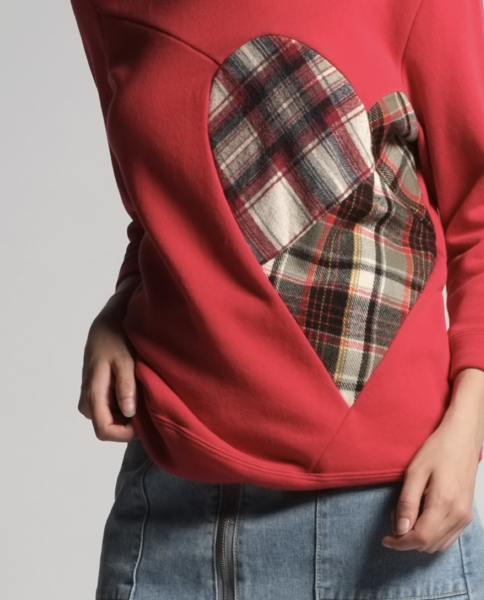 hannah sweatshirt in red - made with vintage flannel shirt - available now