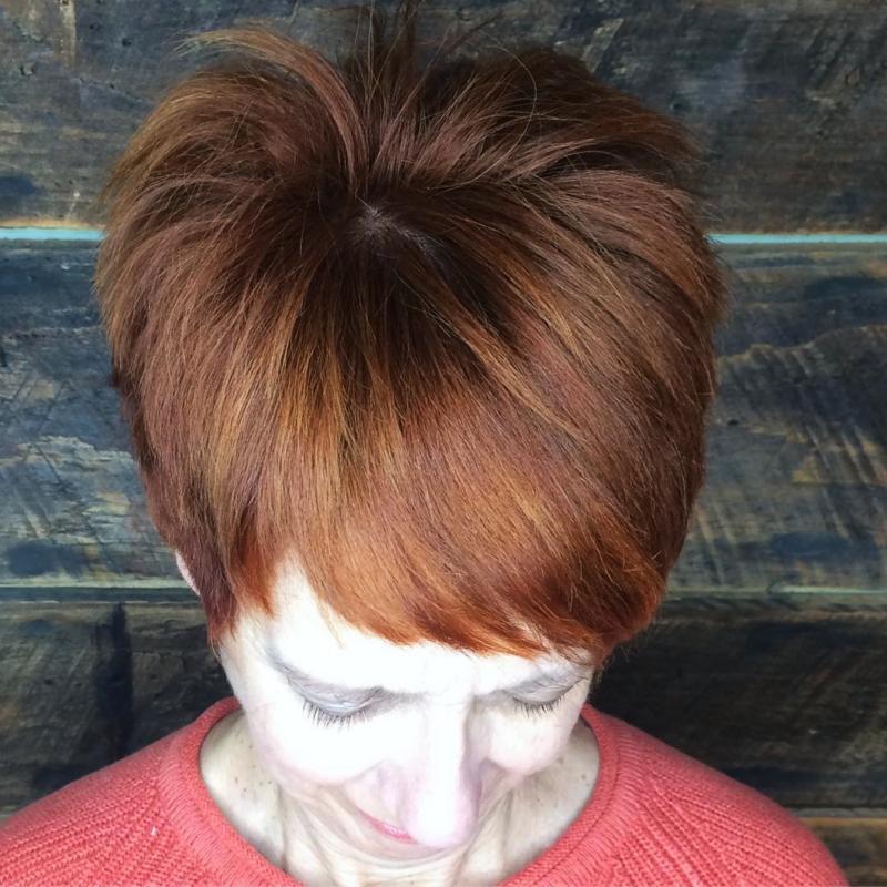 Hillary Loves Hair Salon Asheville NC arrojo razor hair cut with rich red color tones