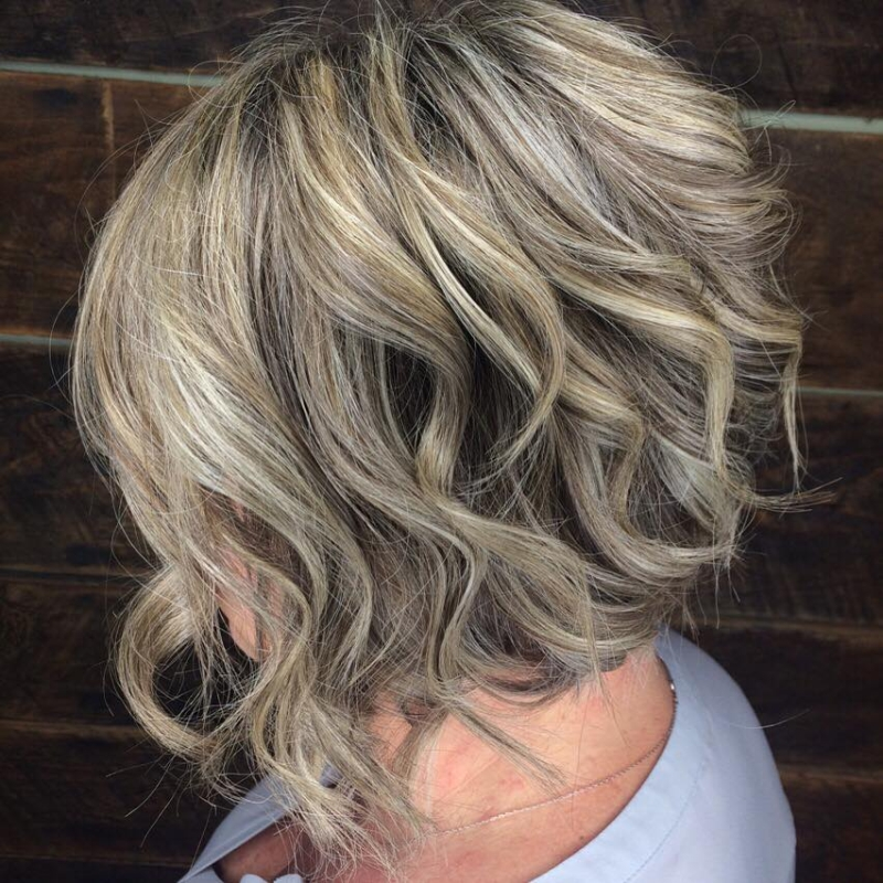 Hillary Loves Hair Salon Asheville NC hair color silver highlights textured bob cut and style Hillary Small