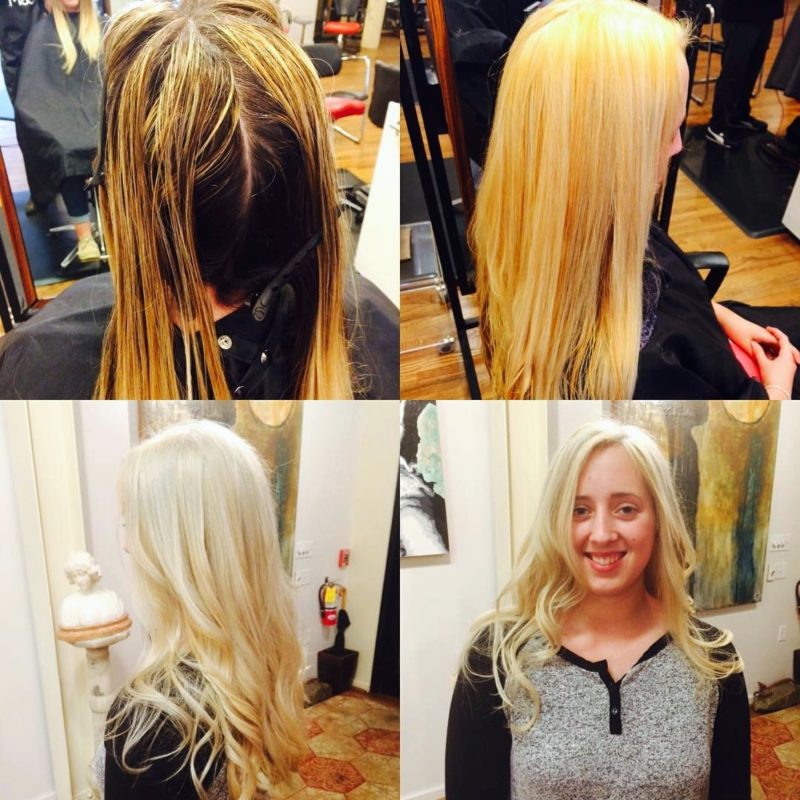 Hillary Loves Hair Salon Asheville NC Colored from dull to icy blonde transformation Olaplex Hillary Small