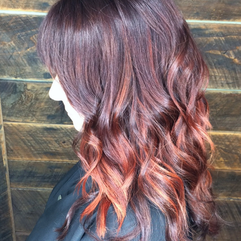 Hillary Loves Hair Salon Asheville NC Hair Color balayage with fire tips amazing look great results