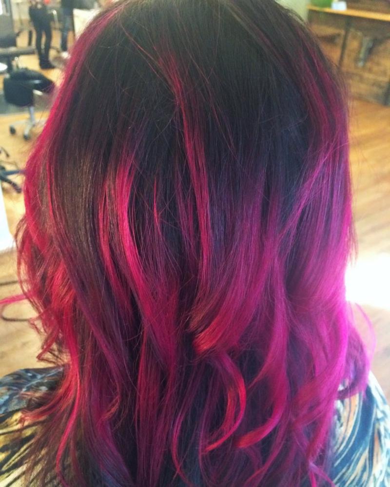Hillary Loves Hair Salon Asheville NC Hair color vivid pink Privana ombre' Hair Stylist Hillary Small