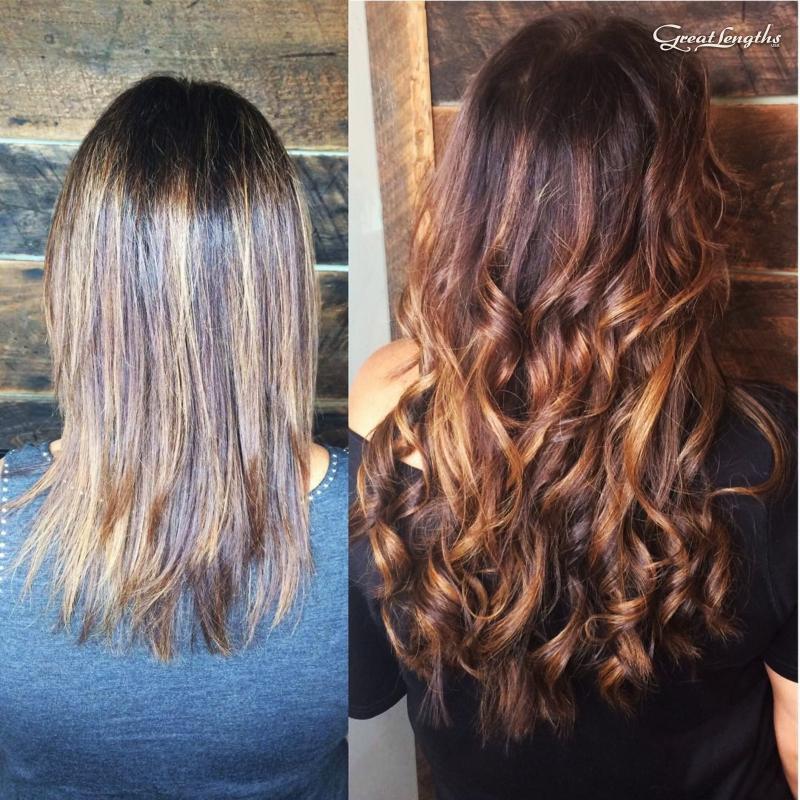 "Hillary Loves Hair Salon Asheville NC Great Lengths hair extensions adding 16"" length beautiful keratin bonds"