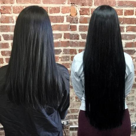 BEFORE AFTER HILLARY LOVES HAIR HAIR SALON ASHEVILLE NC GREAT LENGTHS HAIR EXTENSIONS KERATIN BONDS
