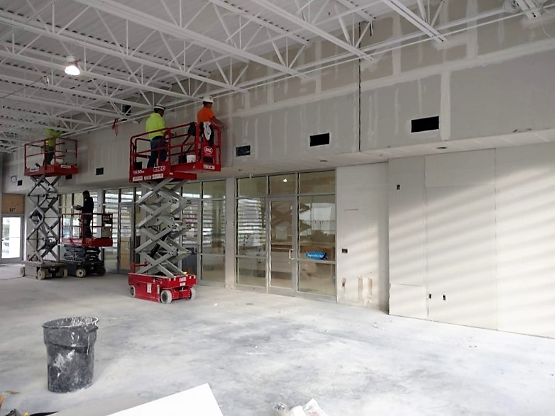 1-25-19 Drive-thru soffit drywall installed, compound ongoing.jpg