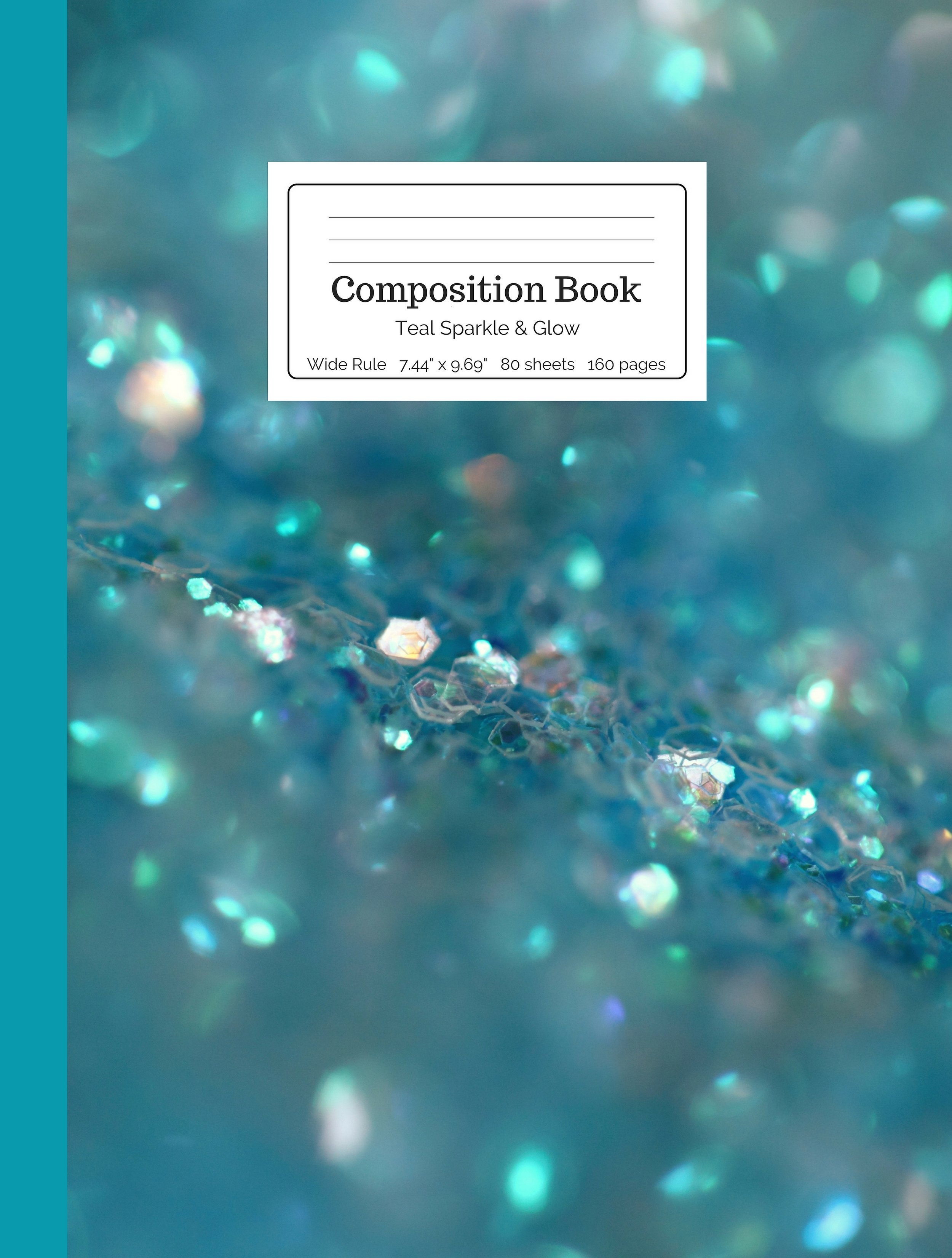 Teal Sparkle and Glow Composition Book