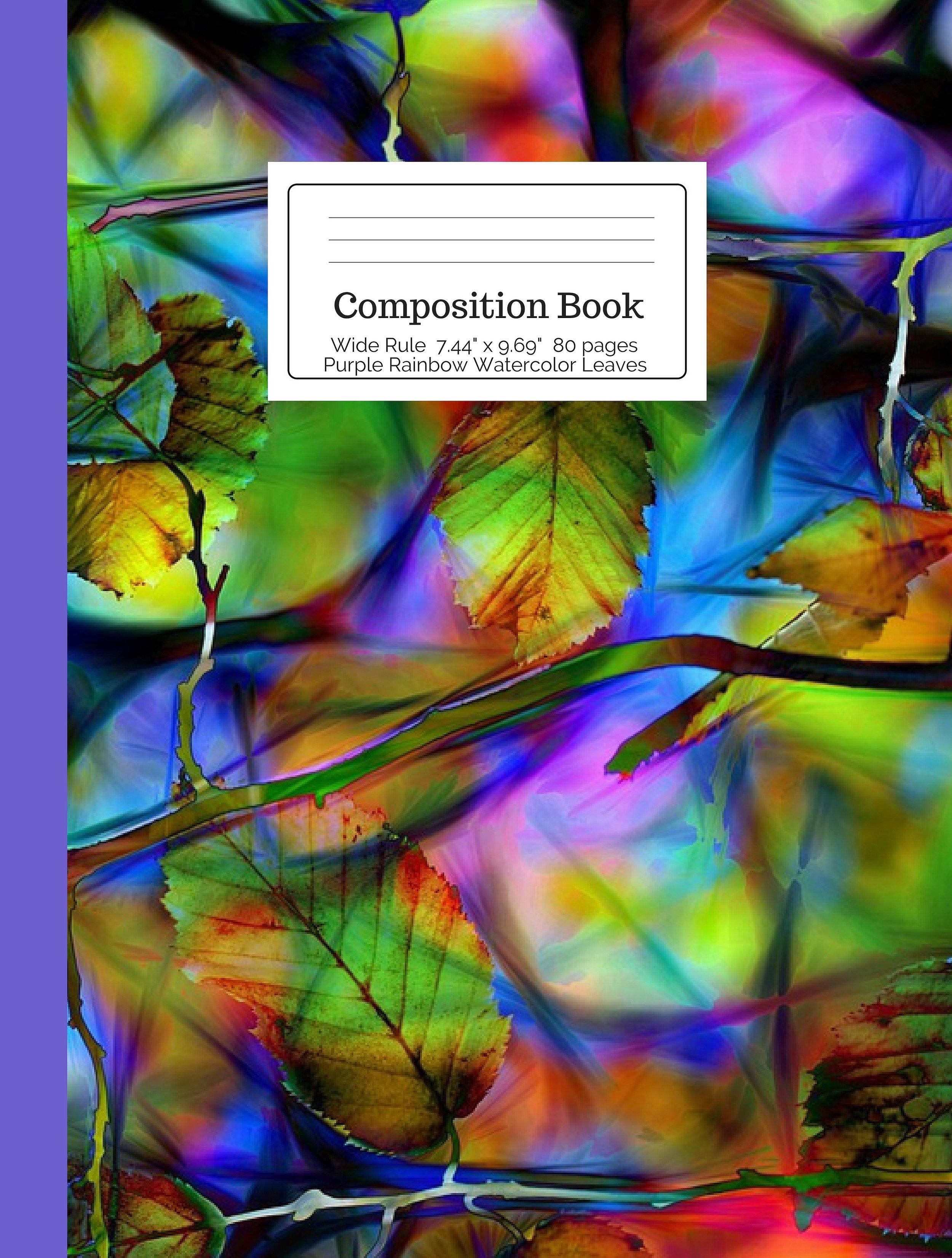 Purple Rainbow Watercolor Leaves Composition