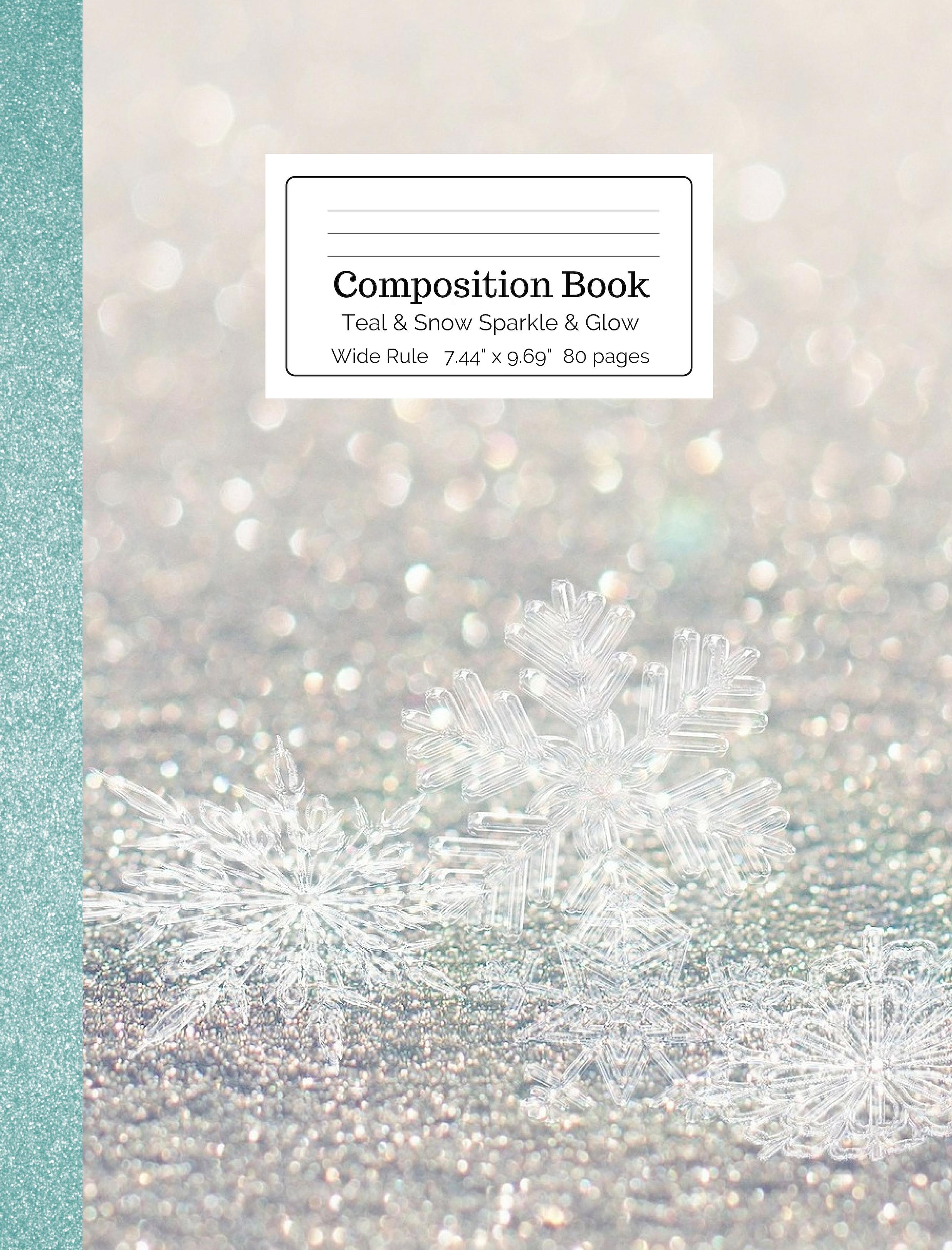 Teal & Snow Sparkle & Glow Composition Book