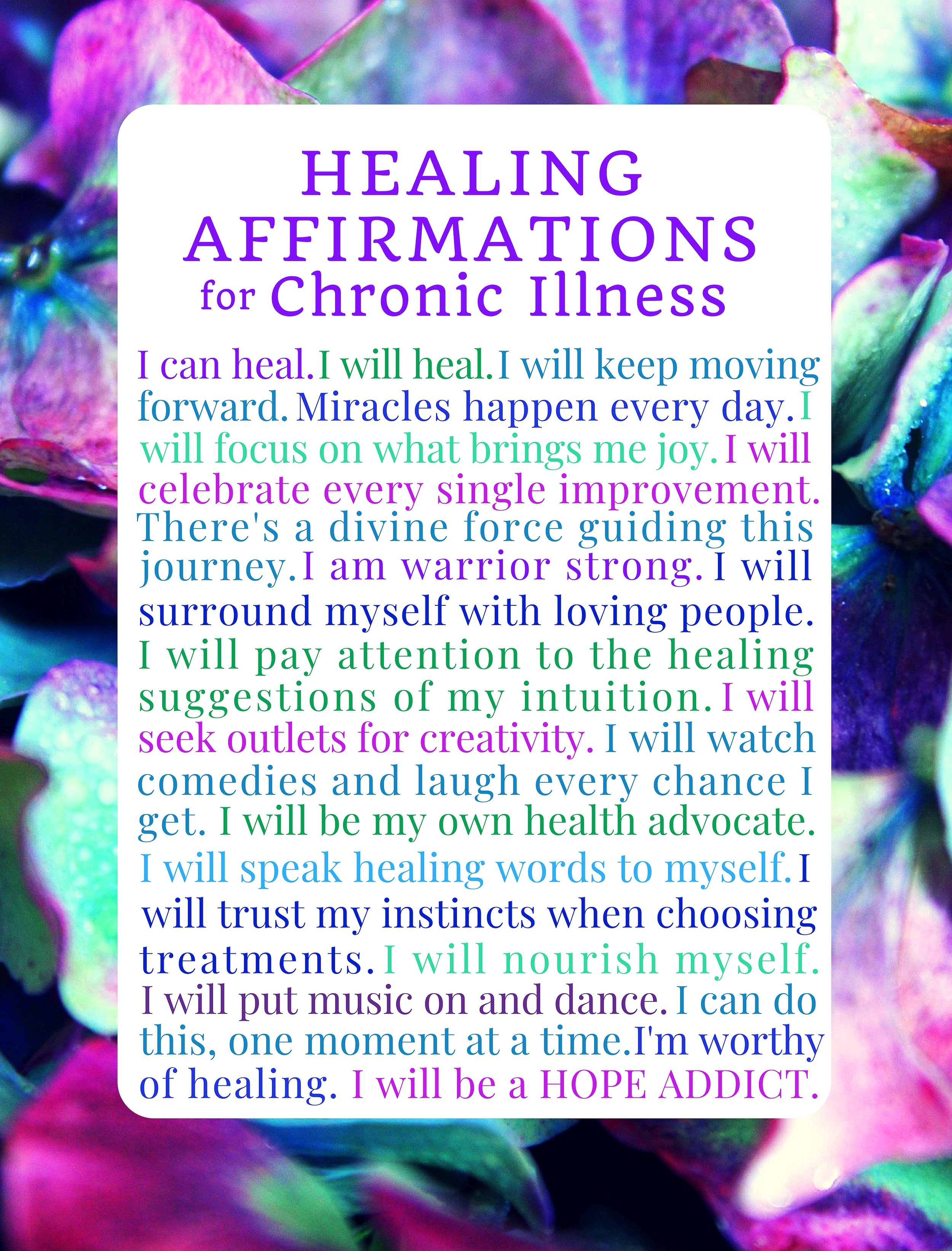 Healing Affirmations for Chronic Illness Blank Notebook