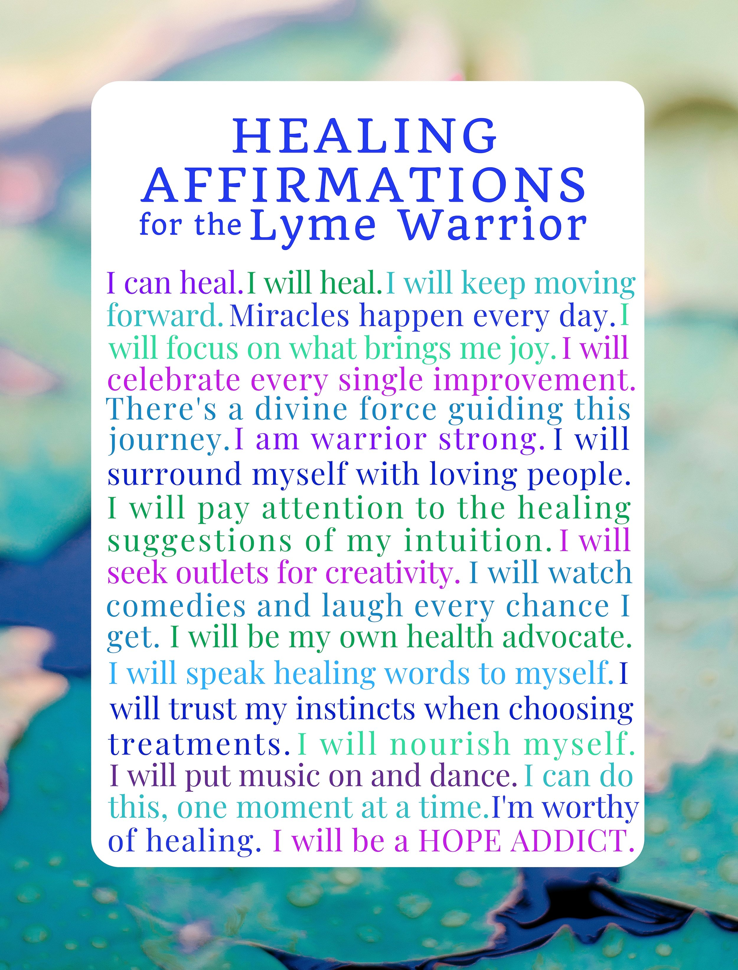 Healing Affirmations for the Lyme Warrior Notebook