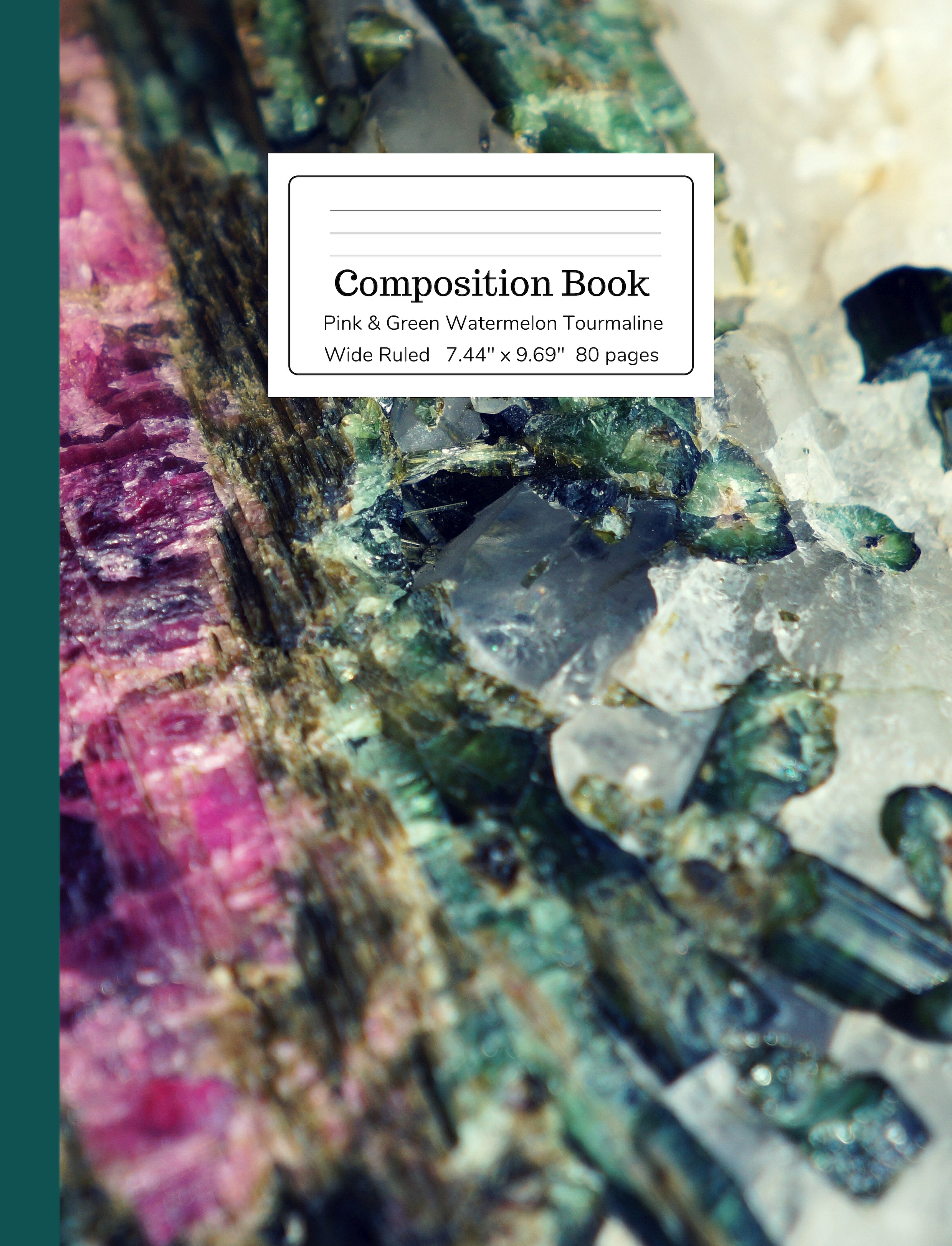 Pink & Green Watermelon Tourmaline Composition Book