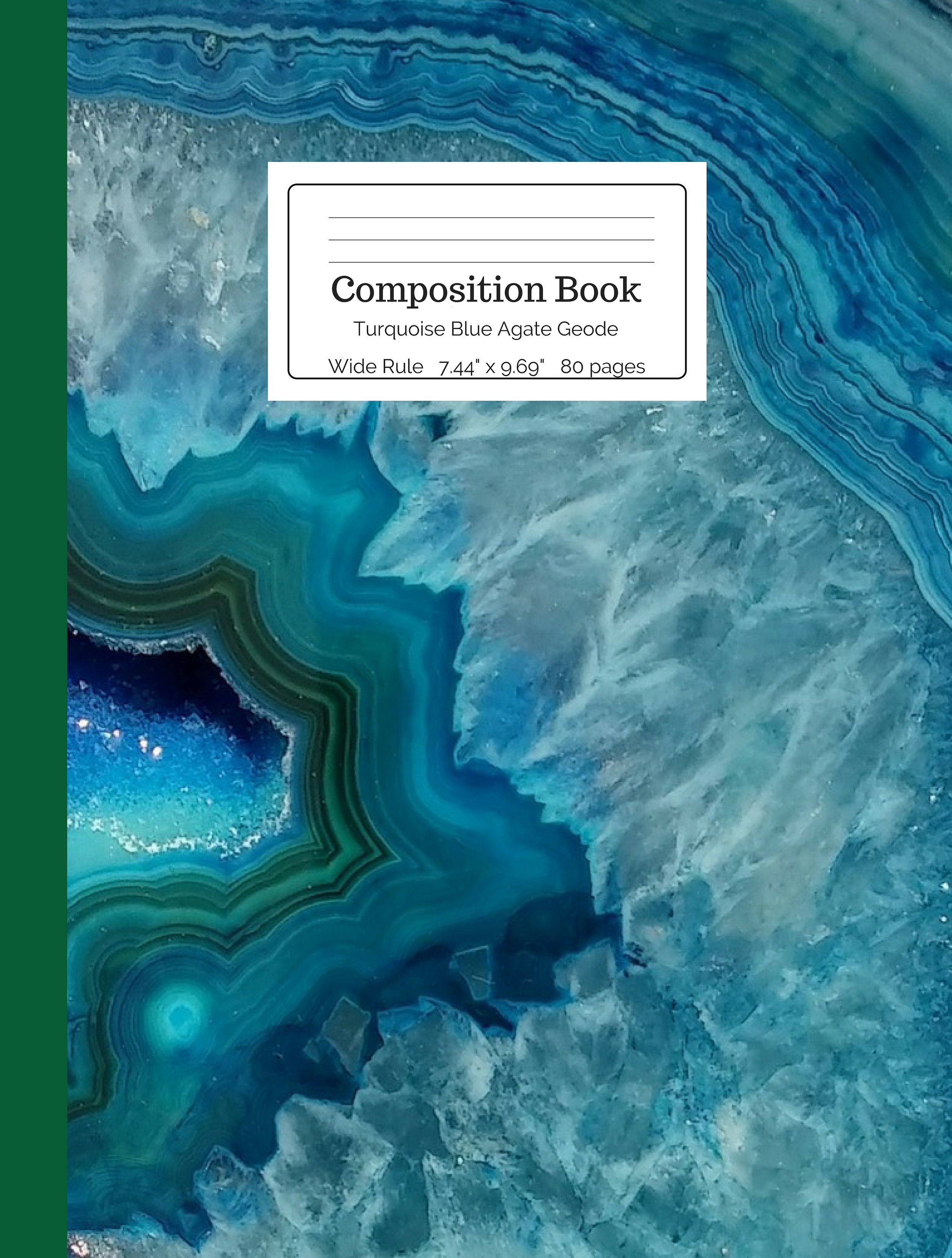 Turquoise Blue Agate Geode Composition Book