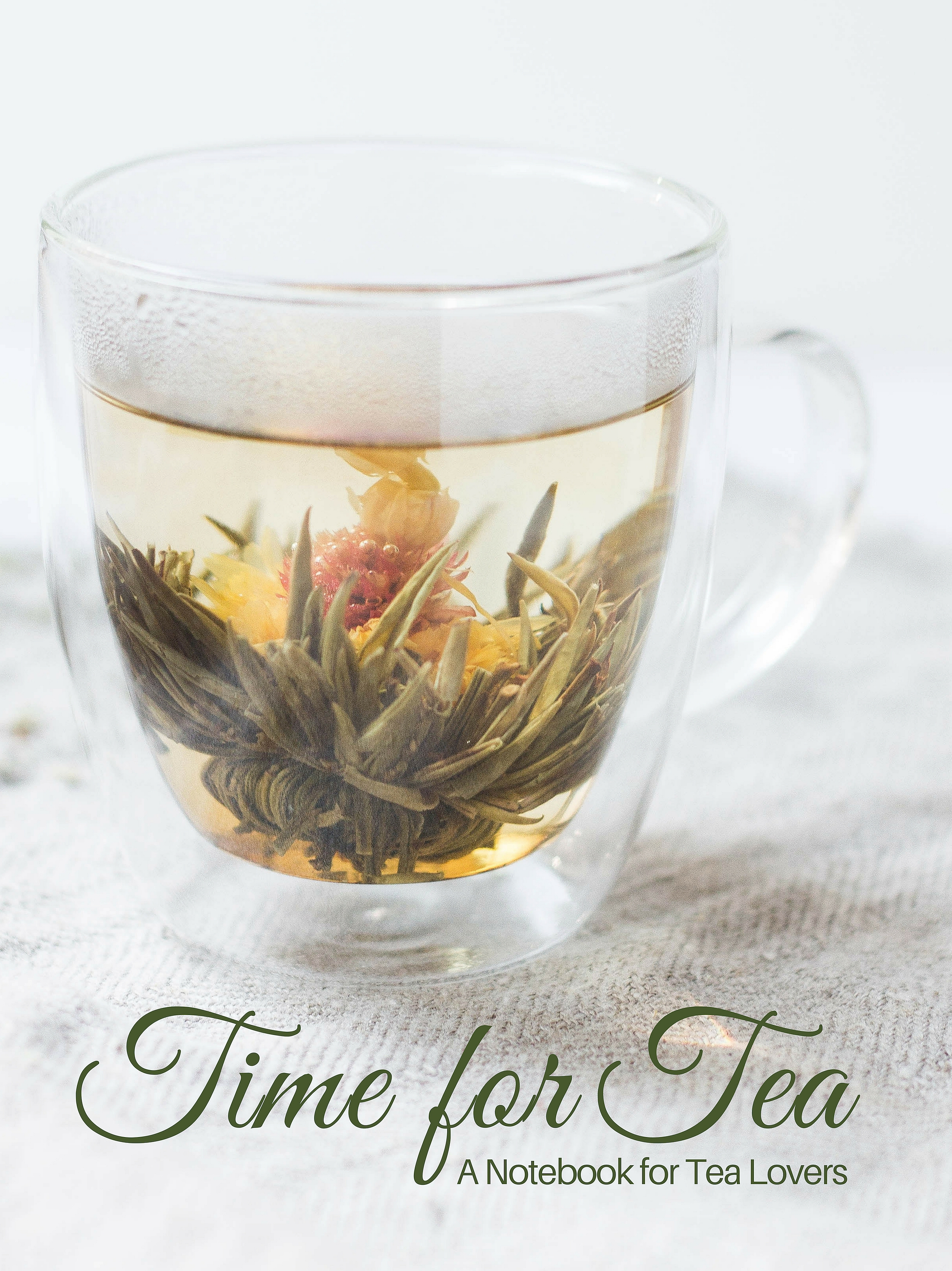 Glass Tea Cup with Blooming Flower Tea- Notebook