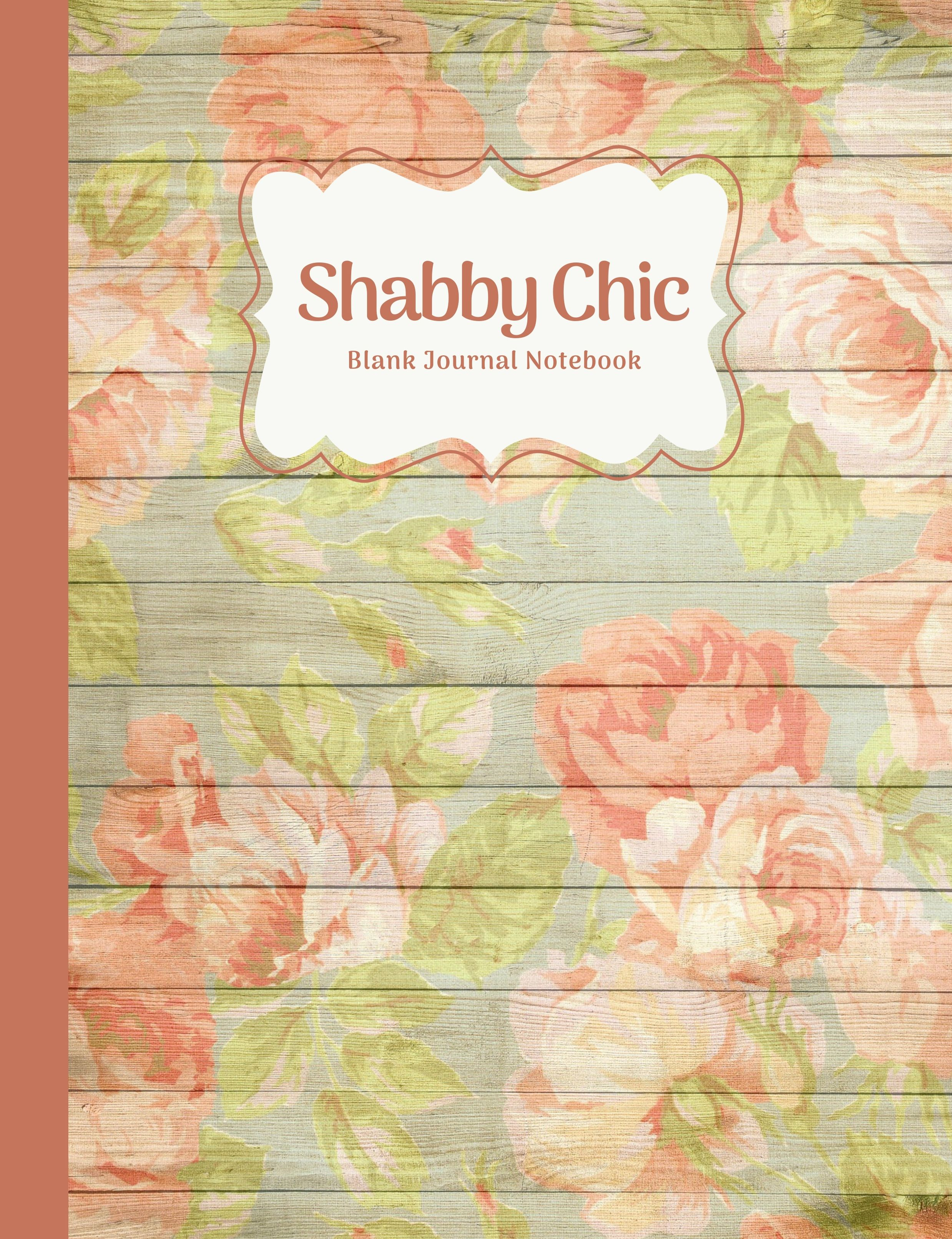 Shabby Chic Peach Peony Rose Floral Blank Notebook