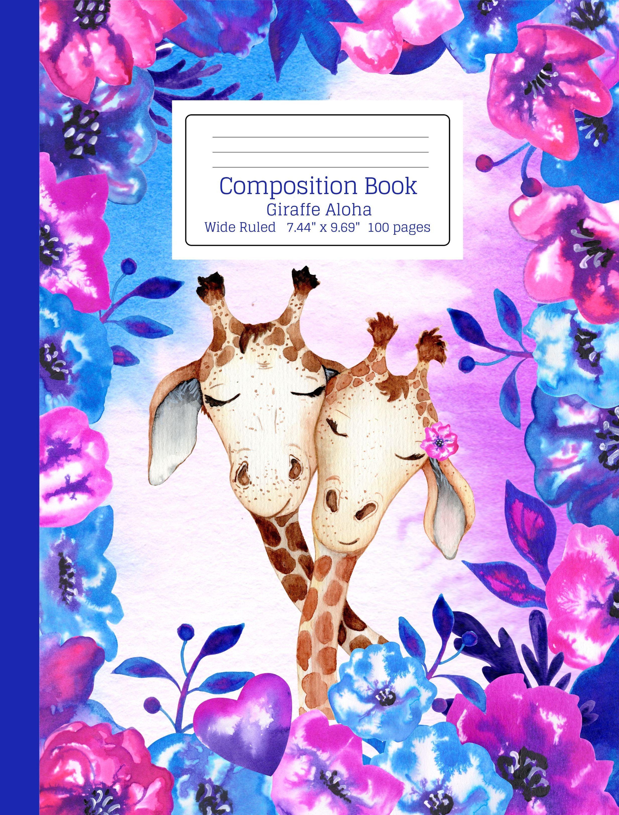 Purple Pink & Blue Floral Tie Dye Pattern Giraffe Aloha
